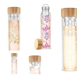 Blair Floral-Botanical Pattern Glass Travel Infuser Mug