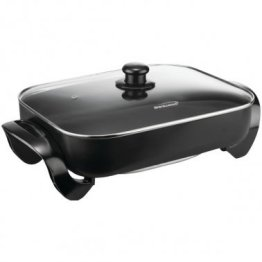 """Nonstick Electric Skillet with Glass Lid (1,400W; 16"""")"""