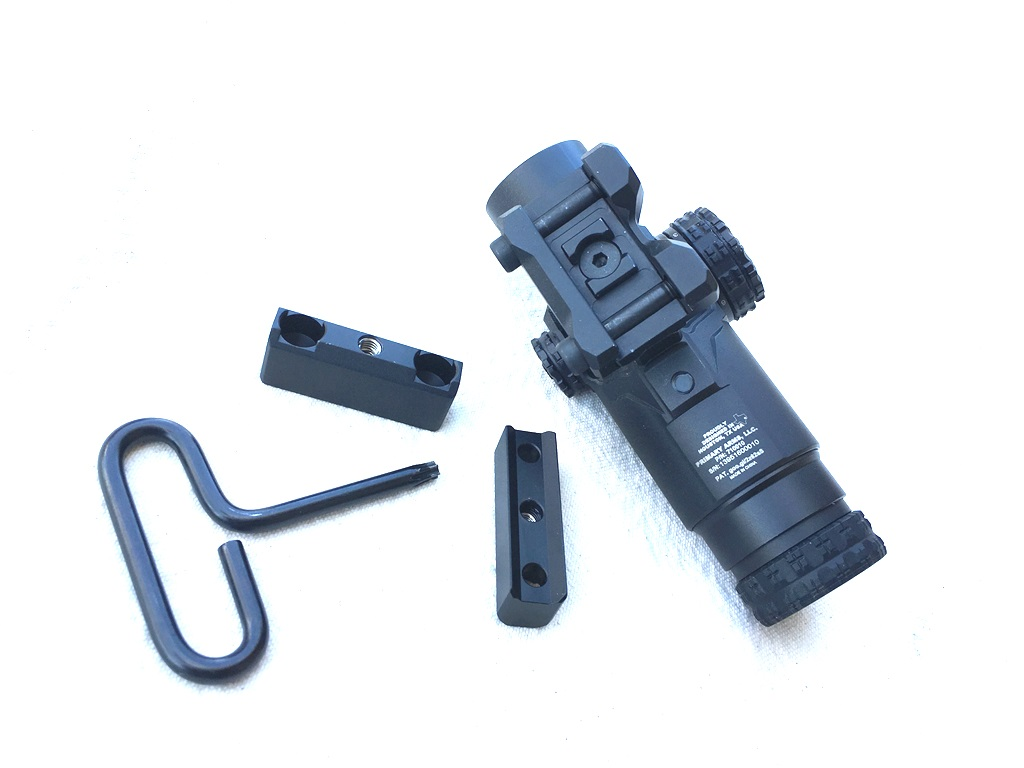 Strong and simple mount utilizes the mini ACOG footprint and comes with three risers