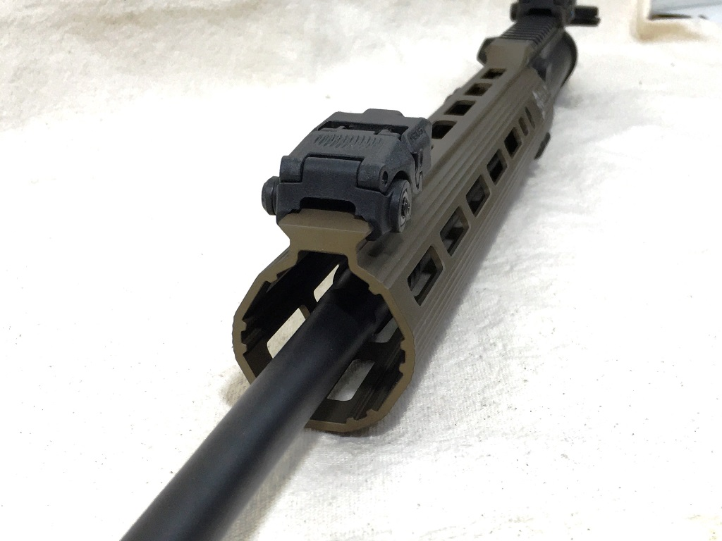 If you want to use BUIS, get the V-2.  ALG offers a bolt-on rail for the smooth top rails, but it might interfere with the gasblock underneath.  The V-2 has the rail already machined in place, with lots of room for the gas block