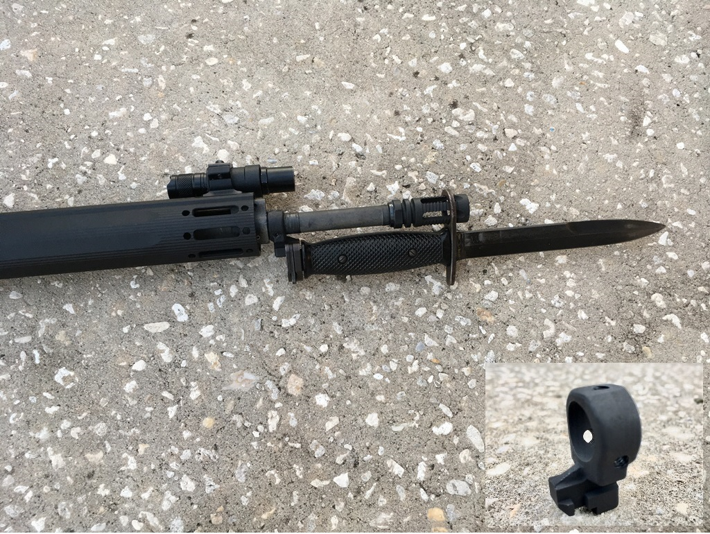 A problem rifle:  How do you fit a bayonet on a free floated rifle with low profile gasblock?  I cut off the barrel ring with the lug from a standard front sight base and drilled and tapped it or three set screws.  It works,  But if someone would make a lug that mounts to the M-Lok handguards, that would be better.