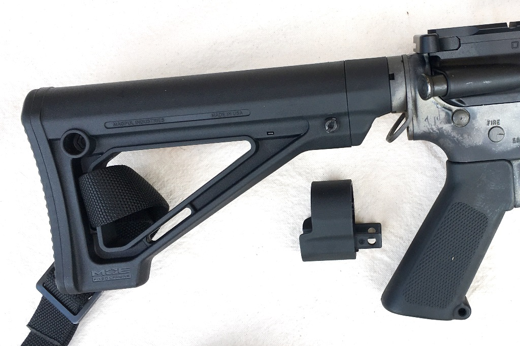 The Magpul MOE Fixed stock fits tightly on a carbine receiver extension and allows for two different lengths. The spacer can be added for those needing a longer stock