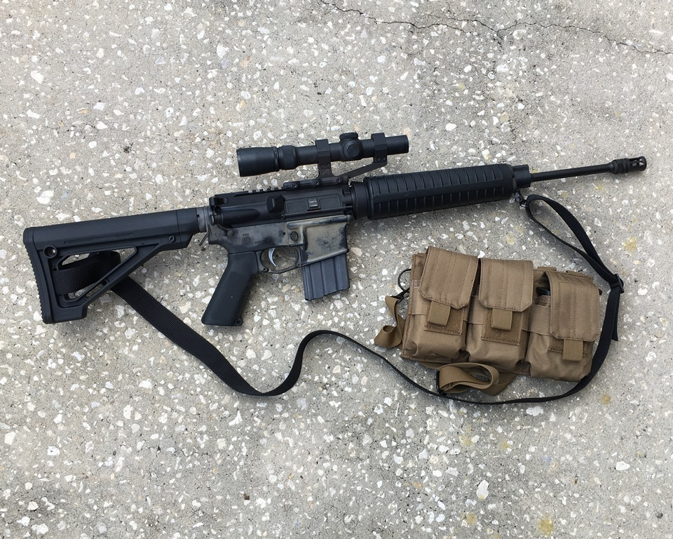 A simple, lightweight, optic-only rifle and a mag pouch for 20 round mags makes a great Old Man Combo