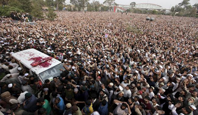Historic gathering at Qadri's funeral in Rawalpindi