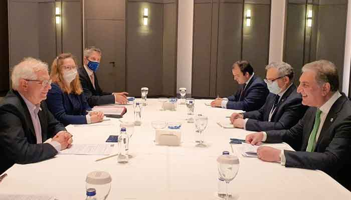 Minister for Foreign Affairs Shah Mahmood Qureshi in a meeting with EU High Representative/Vice President Josep Borrell on the sidelines of the Antalya Diplomacy Forum in Turkey, on June 18, 2021. — Photo courtesy Twitter/@SMQureshiPTI