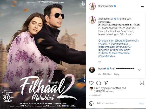 Akshay Kumar shares first look of Filhaal 2-Mohabbat