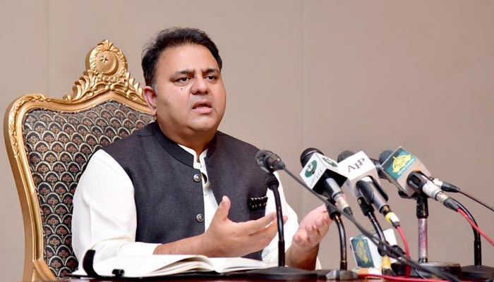 Minister for Information and Broadcasting Fawad Chaudhry addressing a post-cabinet press conference in Islamabad, on August 3, 2021. — PID