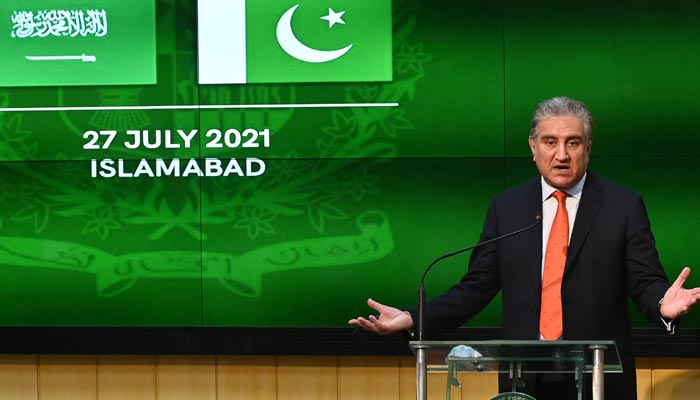Foreign Minister Shah Mahmood Qureshi speaks during a joint press conference with Saudi Foreign Minister Prince Faisal Bin Farhan Al-Saud (not pictured) at the Foreign Ministry in Islamabad on July 27, 2021. — AFP/File