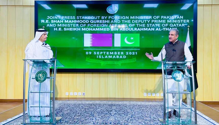 Foreign Minister Shah Mahmood Qureshi (right) and Qatars Foreign Minister Sheikh Mohammed bin Abdulrahman Al Thani addressing a joint press conference in Islamabad, on September 9, 2021. — PID