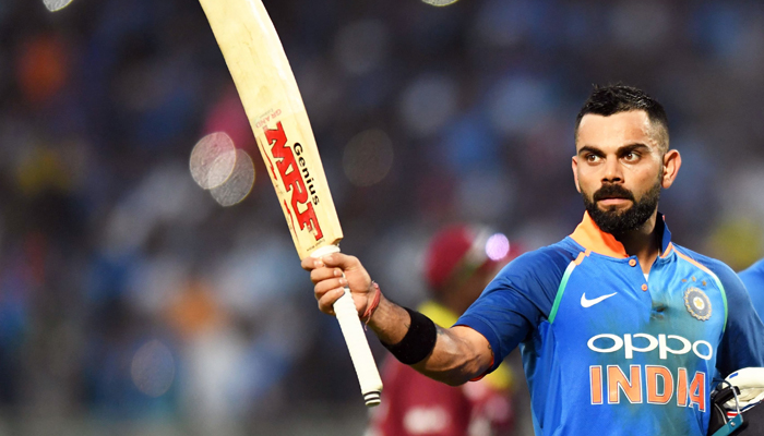 Virat Kohli gesture towards stands after complete their innings during an ODI against West Indies. —AFP/File