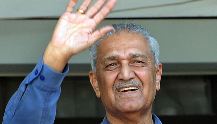 In this file photo taken on February 6, 2009 Pakistani nuclear scientist Abdul Qadeer Khan gesturing after a court verdict in Islamabad. — AFP