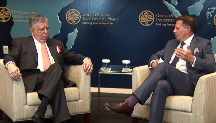 Screengrab shows Finance Minister Shaukat Tarin speaking at the USIP ahead of crucial talks with IMF.