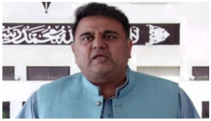 Fawad Chaudhry addressing a press conference in Islamabad on October 14, 2021. — YouTube/Hum News