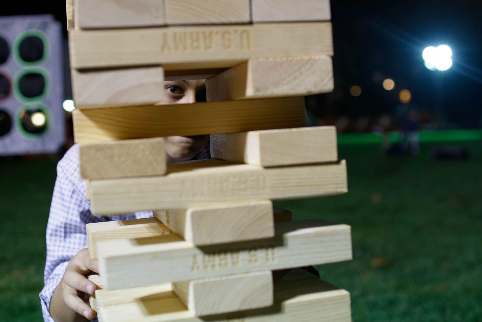Giant game of Janga at Homecoming 2017