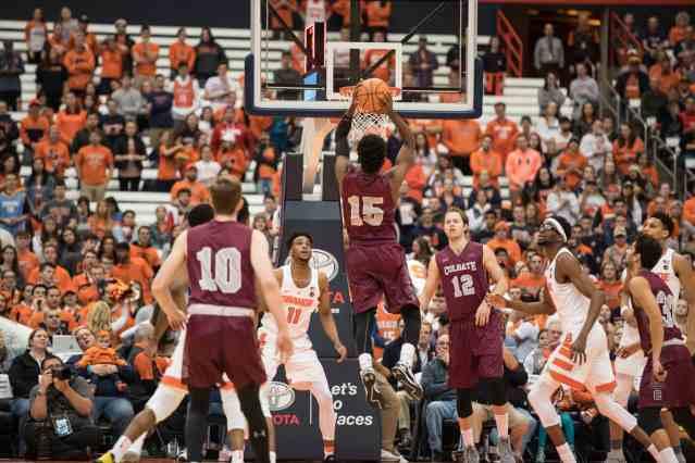 Colgate basketball player dunks the ball