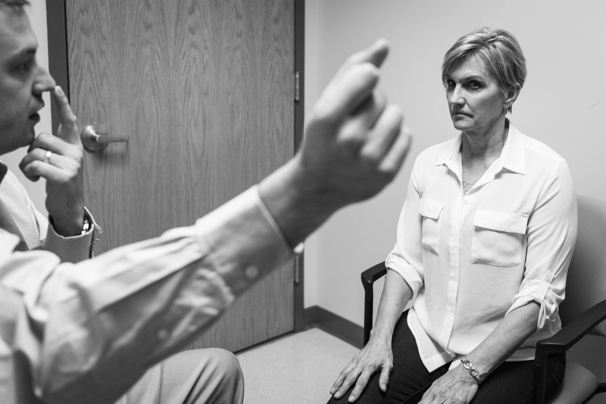 Karen Cretaro completes her Parkinson's Disease diagnostic test.