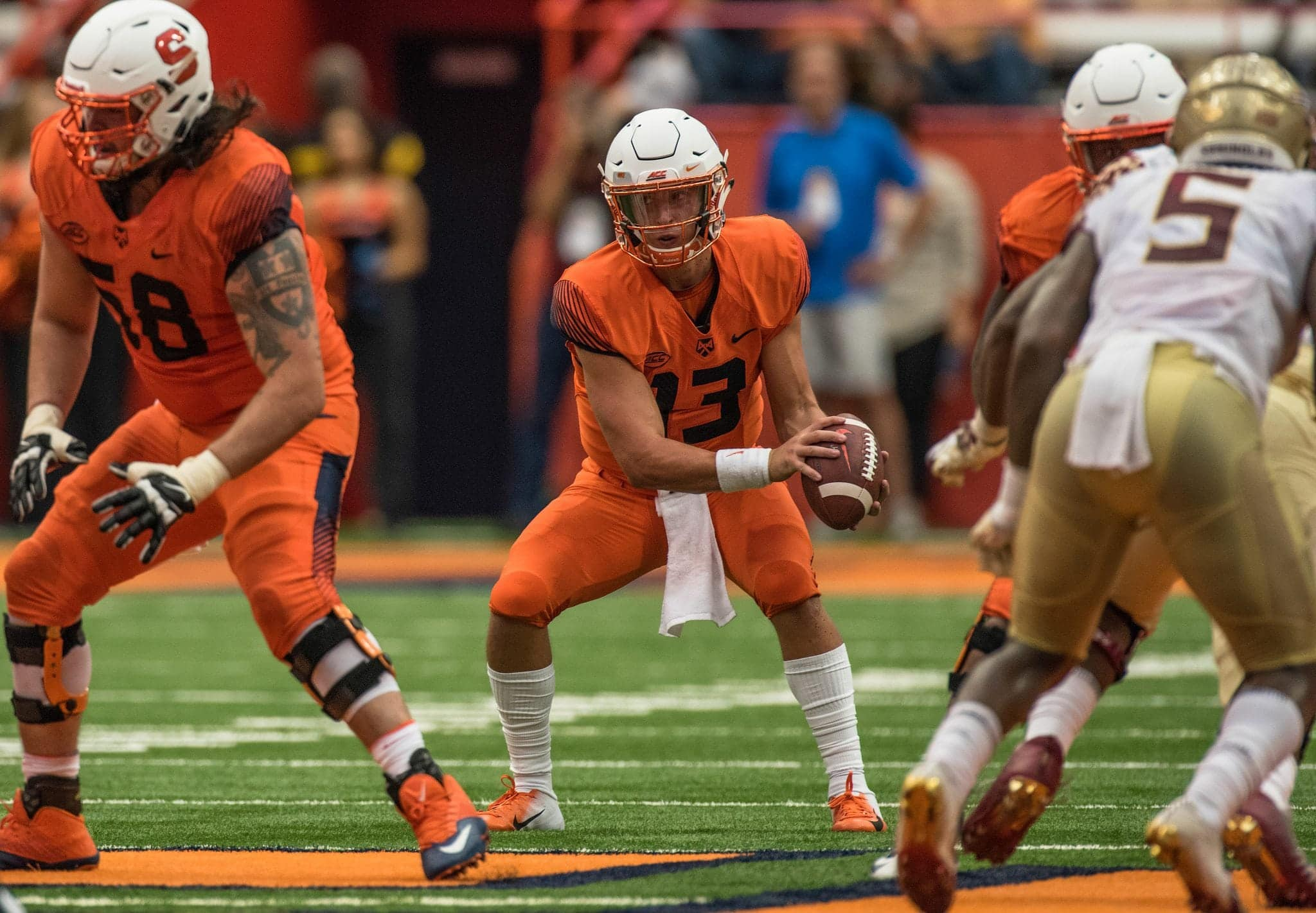 Redshirt freshman quarterback Tommy DeVito replaced starting quarterback Eric Dungey who left the game near the end of the first half.