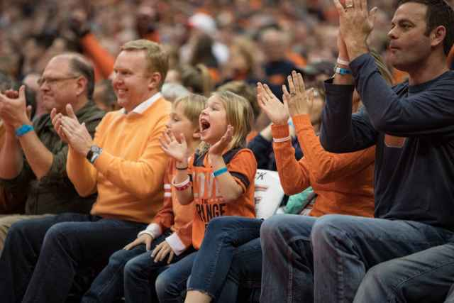 Courtside fans cheer as the Orange holds their mere points lead over Clemson.