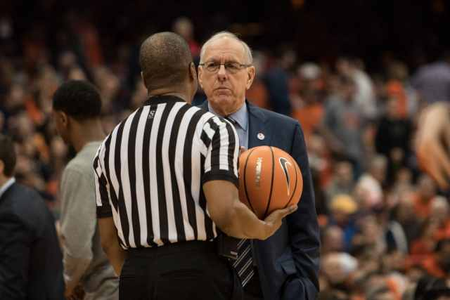 Coach Jim Boeheim listens as the referee explains his call against the Orange during the Clemson game