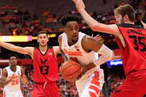 Sophomore Oshae Brissett avoids Eastern Washington's defense on his way to the basket.