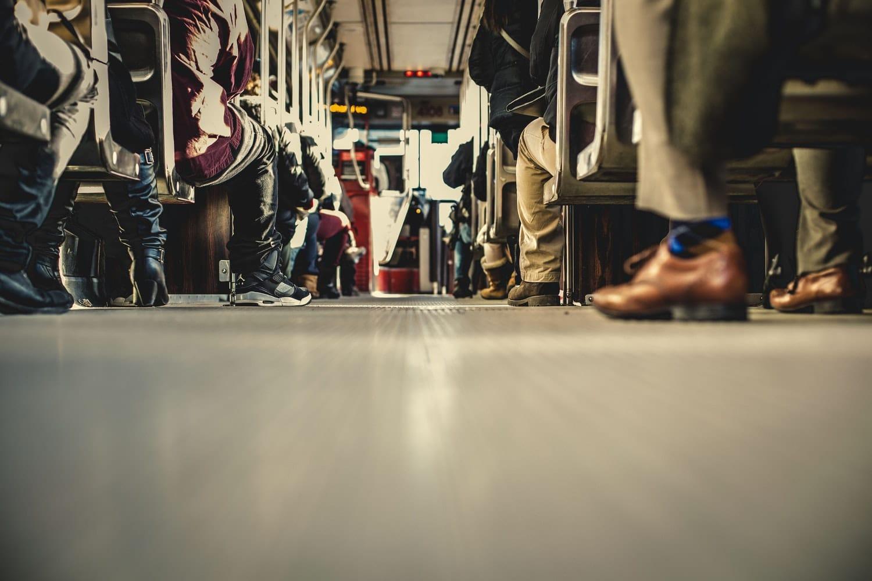 Stock image of bus riders