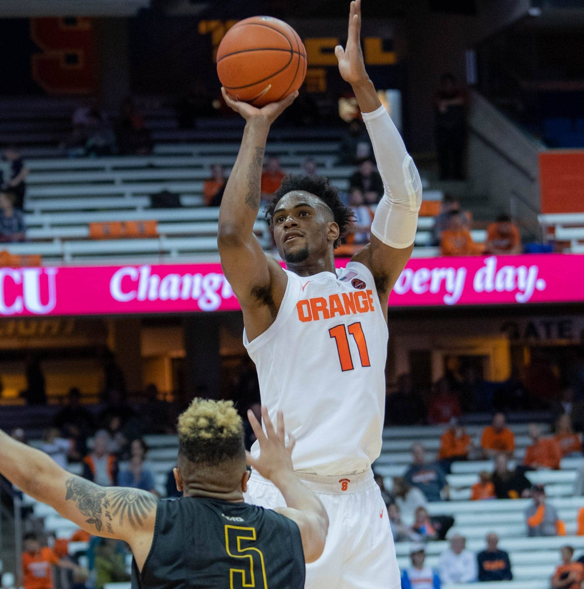 Sophomore Oshae Brissett lead Orange scorers with 22 . points during Syracuse's 77-45 exhibition win over College of St. Rose on Oct. 25, 2018, at the Carrier Dome.