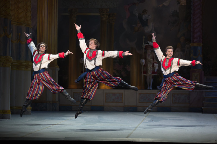 Samuel Zaldivar, Isaac Akiba, and Albert Gordon of Boston Ballet in Mikko Nissinen's The Nutcracker; photo by Rosalie O'Connor