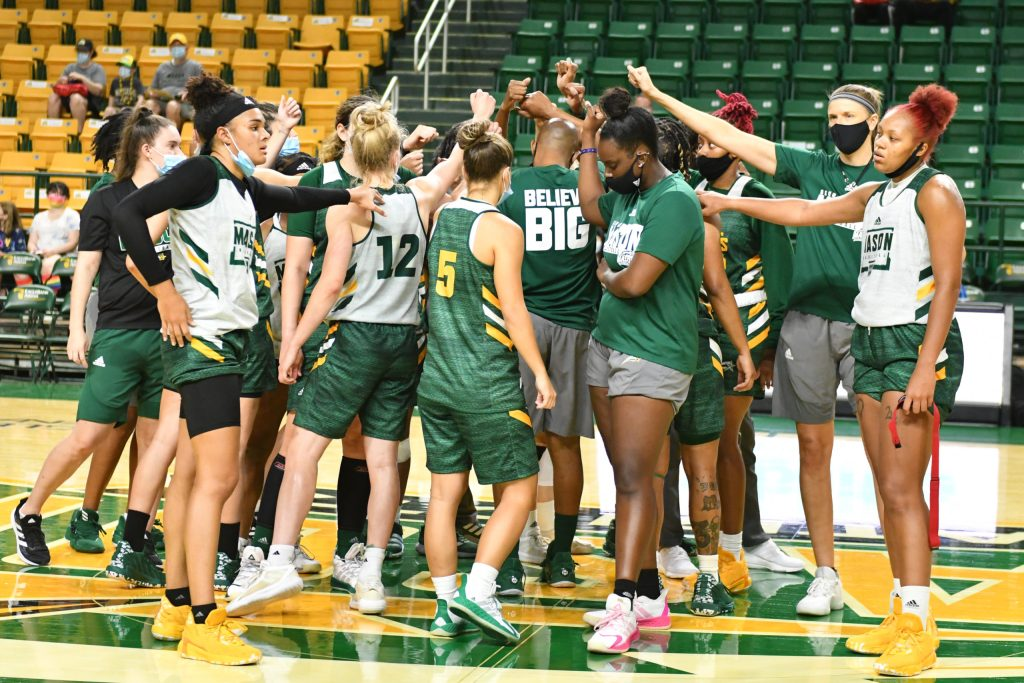George Mason women's basketball huddle after the open practice
