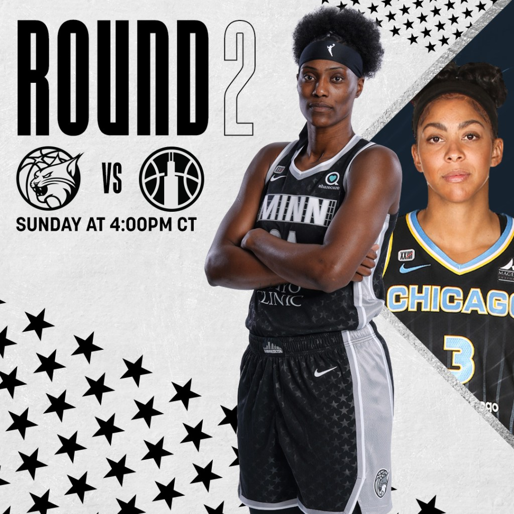 A graphic featuring Minnesota Lynx center Sylvia Fowles announces the second-round playoff game between the Lynx and the Chicago Sky set for Sunday, Sept. 26. (Photo credit: Minnesota Lynx Twitter)