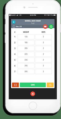 iPhone screenshot displaying an example of a workout set