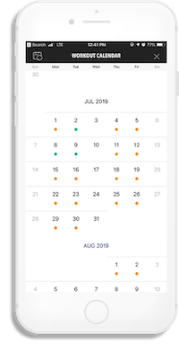 iPhone screenshot displaying the calendar view of workouts for a given month