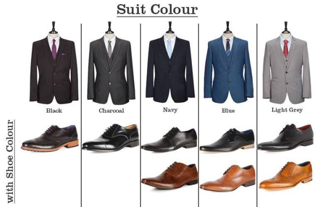 """<img src=""""https://i1.wp.com/www.thenextrex.com/wp-content/uploads/2015/02/Suit-Colour.jpg?resize=640%2C421"""" alt=""""This picture tells which suit to wear with a particular boot"""">"""