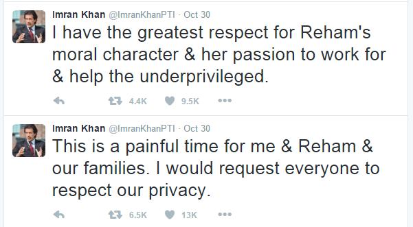 imran khan twitter about his divorce