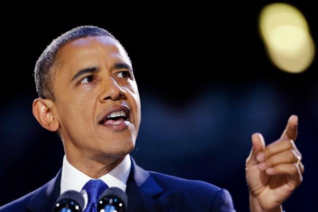 President Barack Obama speaks during an election night party, Wednesday, Nov. 7, 2012, in Chicago. Obama defeated Republican challenger former Massachusetts Gov. Mitt Romney. (AP Photo/Matt Rourke)