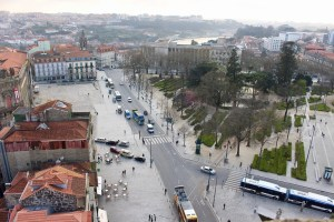 View from top of Clerigos church tower in Porto