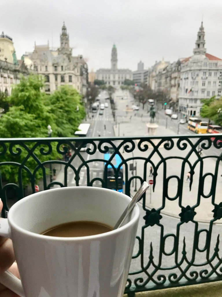 coffee on hotel room balcony