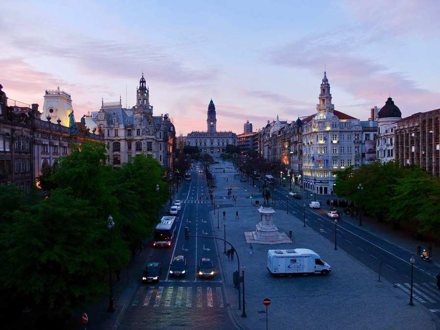 sunset at liberdade square