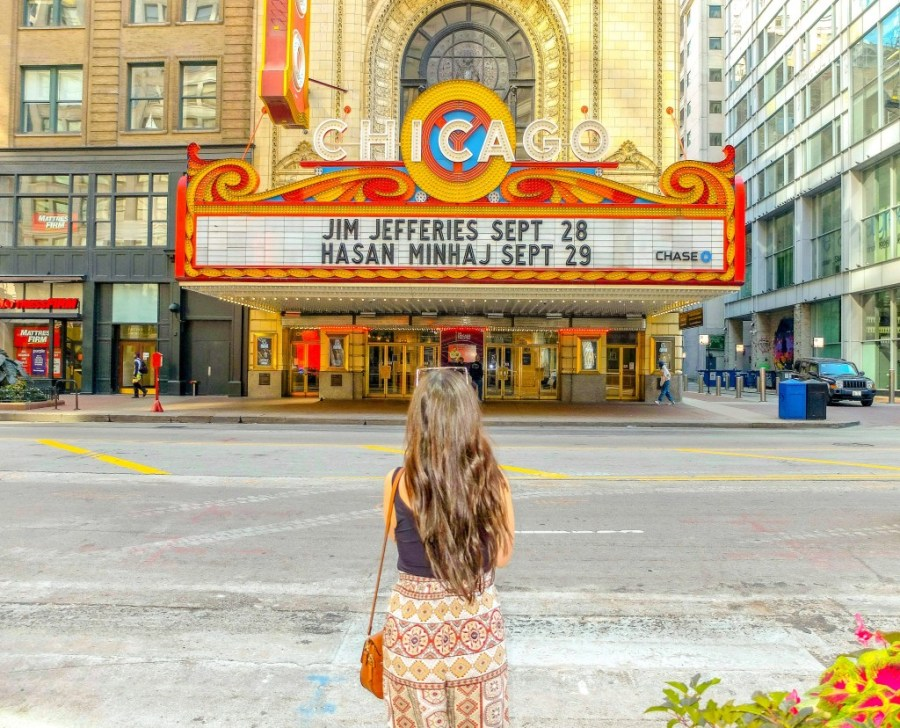 woman in front of chicago theater