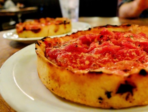 chicago deep dish pizza on a plate