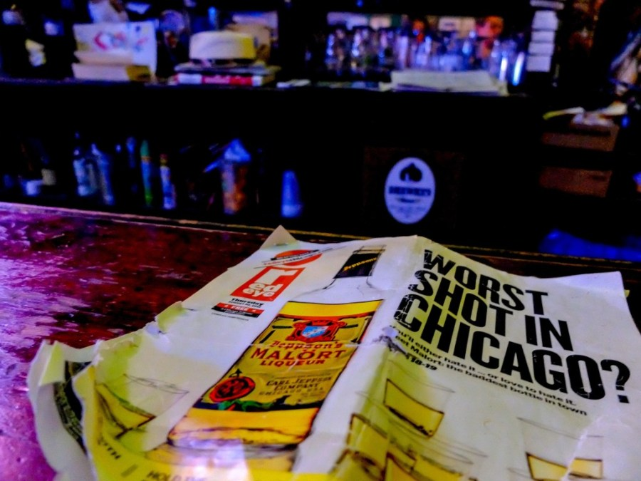 mallort magazine ad on bar in chicago