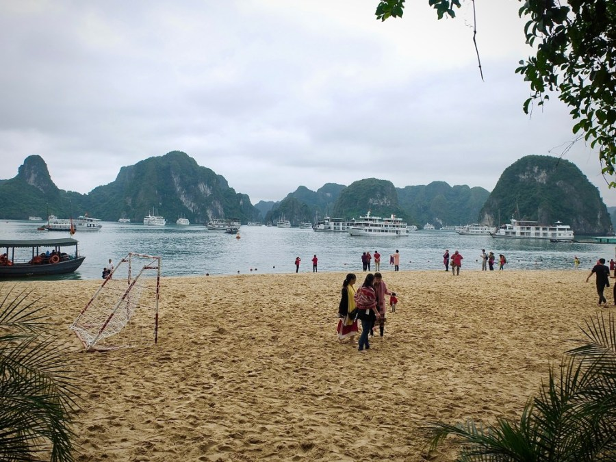 beach at tip top island in halong bay