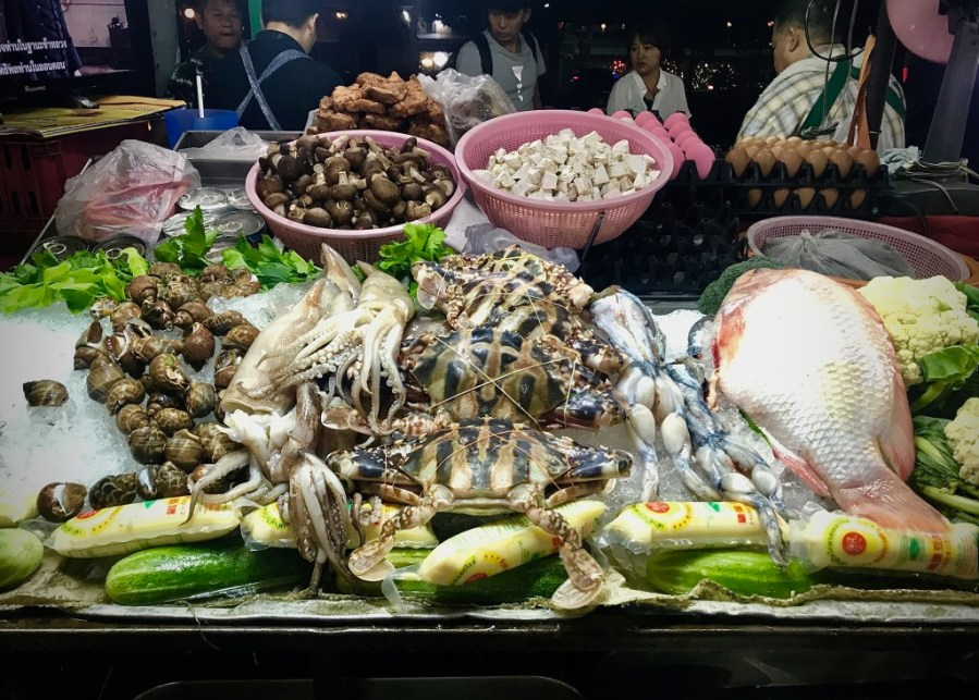 fresh seafood stand at night market