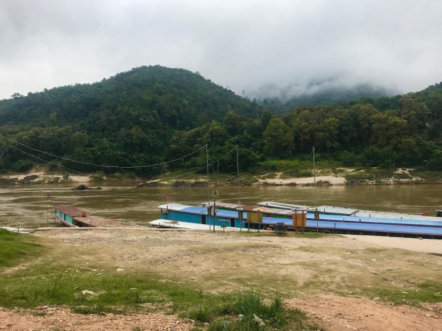 slowboats parked in pakbeng for the night