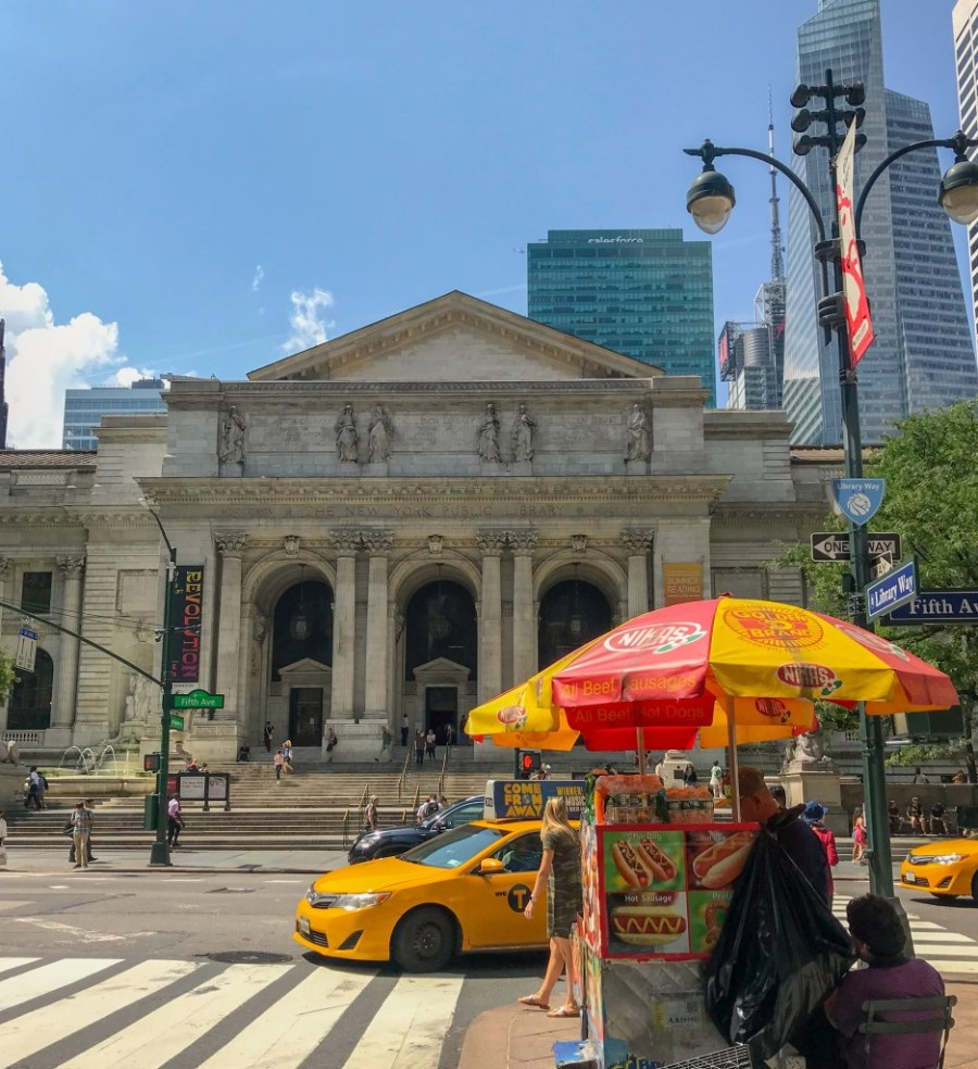 exterior of iconic New York public library