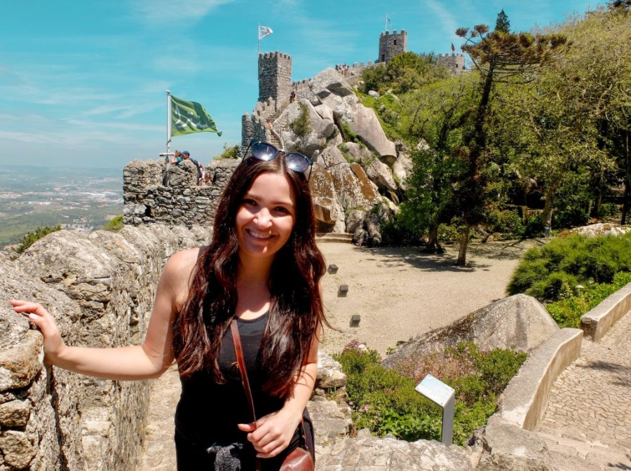 woman at castle of moors in sintra