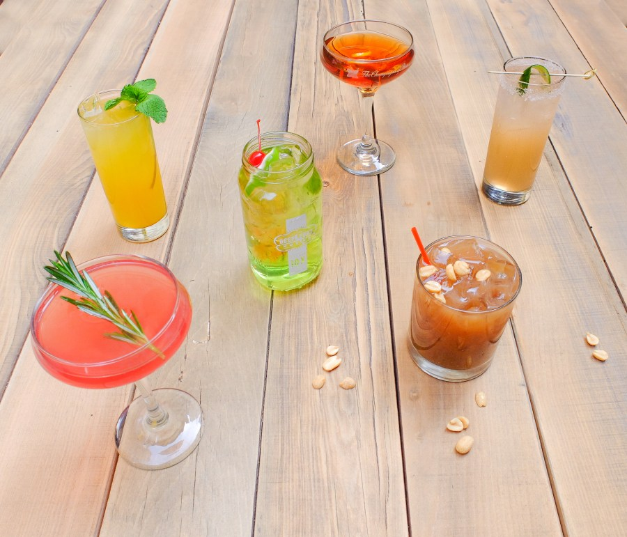 seasonal cocktail line up on picnic table