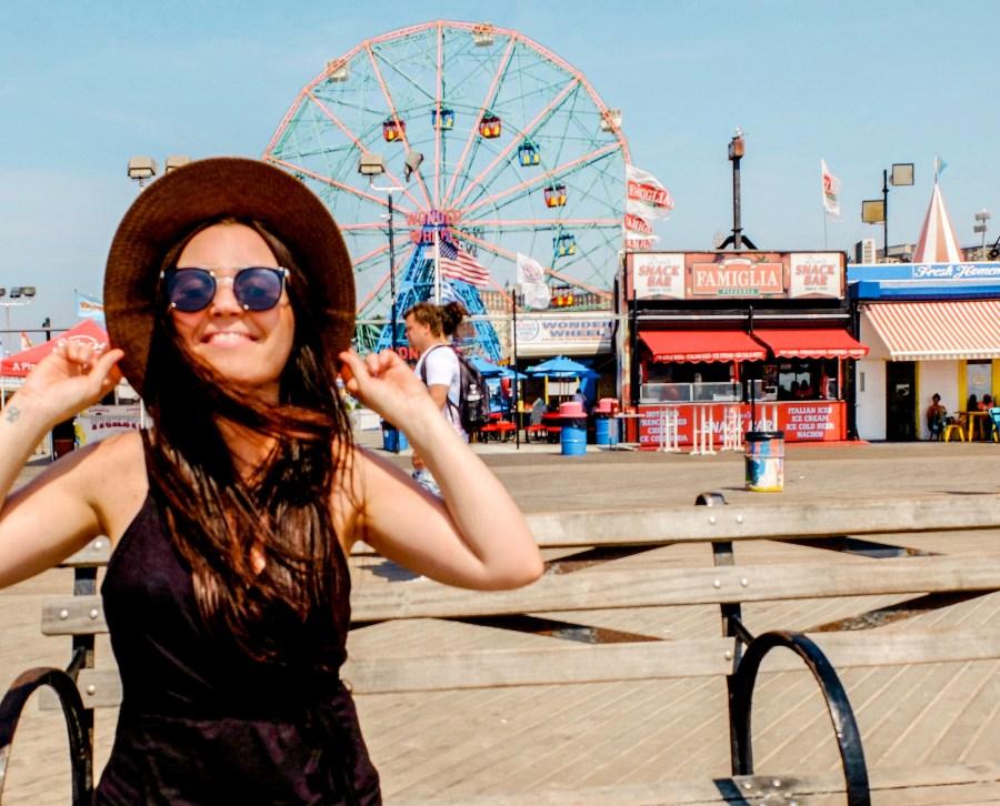 Woman on boardwalk in Coney Island