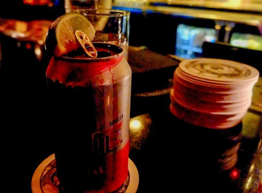 Can of Tecate on bar at House of Wax, a unique bar in New York City
