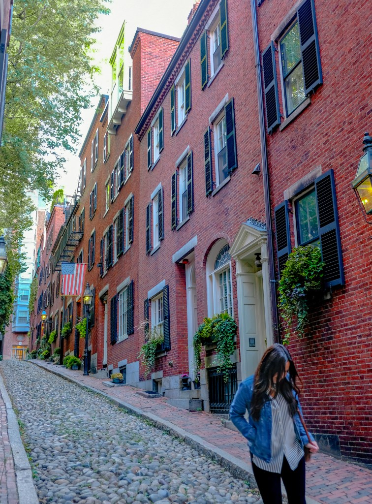 Woman on Acorn Street in Beacon Hill, Boston