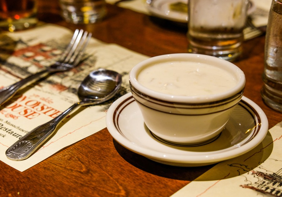 Cup of Clam Chowder at one of the best restaurants in Boston